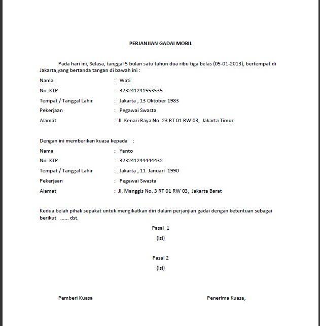 Contoh Surat Pernyataan Gadai Motor Simak Gambar Berikut
