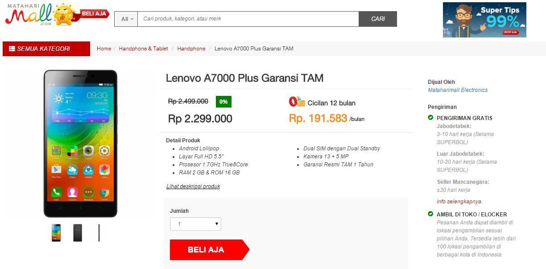 Lenovo A7000 Plus   Yuk cari tau harga yang paling murah  2c5a4564ec
