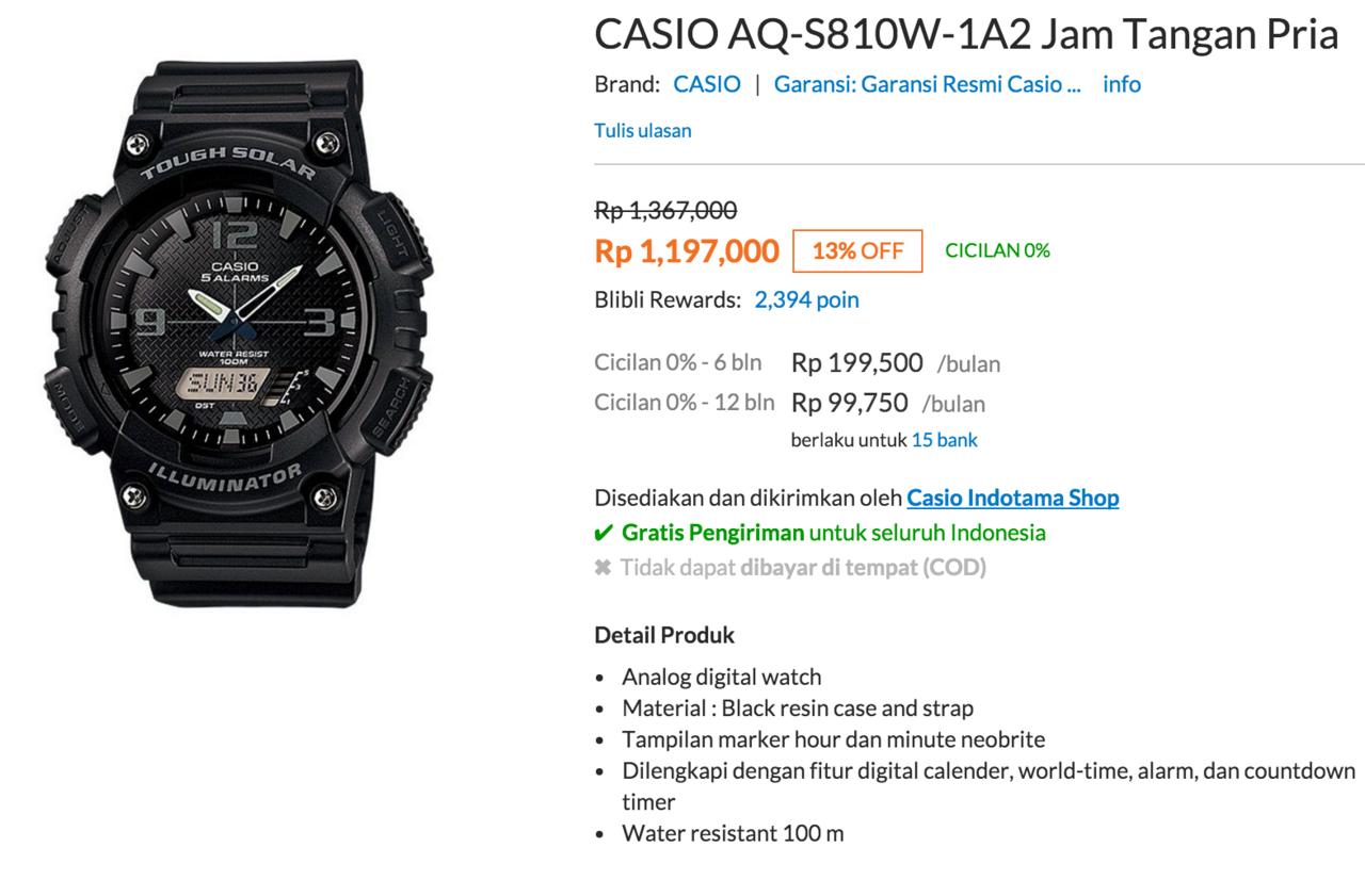 Jual Jam Casio Aq S810w Welcome To Digital Tangan Pria Hitam Strap Karet Ae 1300wh 1a2