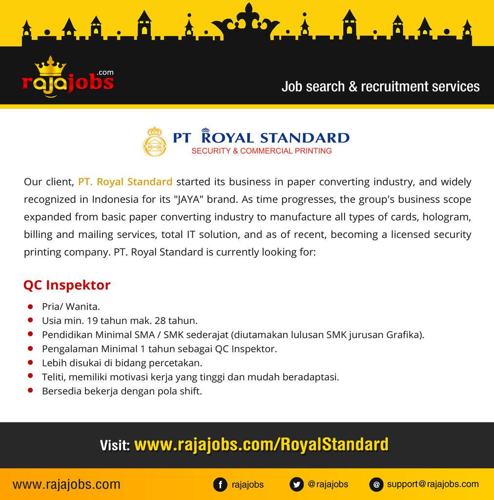 LOwongan Kerja di PT Royal Standard