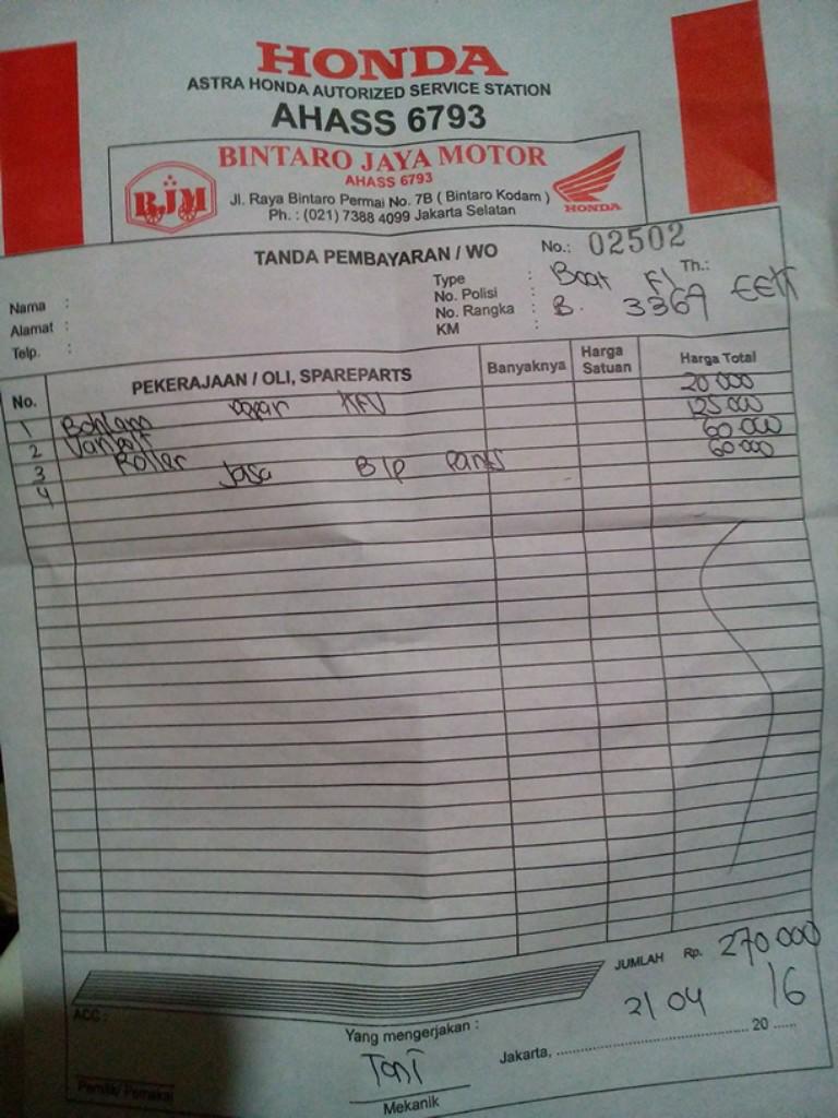 Cukup Sekali Deh Service Motor Di Bintaro Jya Motor Mahal