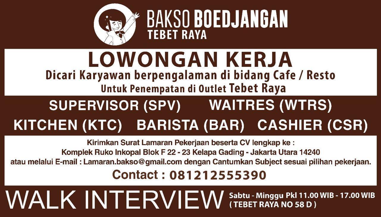 Loker Waiter Kasir Barista Supervisor Restaurant Bakso