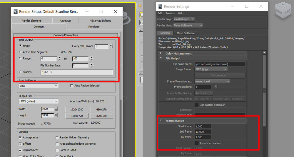 Maya vs 3DS Max r A01 Common Scanline Render Setting | KASKUS