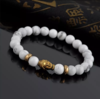 8mm Natural White Turquoise with Gold Plated Buddha Head Bangle