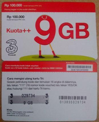 Voucher Tri Kuota Internet 9gb Kuota Three 3 Kaskus The