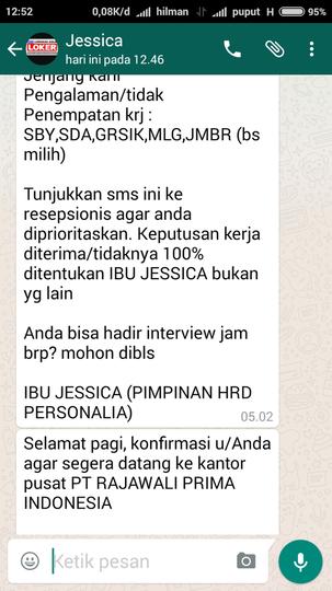 Modus penipuan berkedok lowongan pekerjaan PT RAJAWALI PRIMA INDONESIA