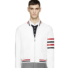 Thom Browne White Leather Varsity Bomber Jacket Fake/KW/Replica Floindonesia