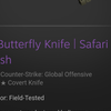 Butterfly Knife Safari Mesh FT Rate Float 0.17