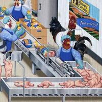 mengerikan-ilustrasi-peran-manusia-digantikan-hewan-manusia-dikonsumsi-ayam