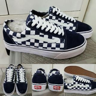 Sepatu Kets Skate Vans Old Skool Checkerboard Canvas Premium ICC China c328bfc99e