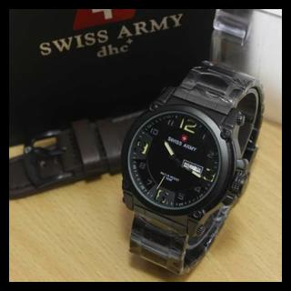 Jam Arloji Pria Swiss Army Set Rantai Black list Yellow Leather Dark f16c3627c1