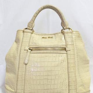 Tas branded MIU MIU Cream croco embossed tote second bekas original asli cbf9d57f7c