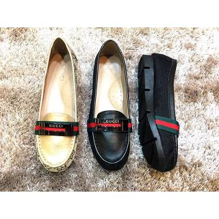 2 HK Import Mirror Quality Cco Gucci Hitam Gold . Flat Shoes Sepatu . 6827b03fc2