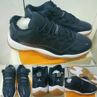 Sepatu Basket Air Jordan 11 XI Low Navy Gumsole   Bred Black Red Premium  China 52bb60c9e6
