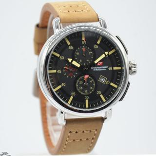 Jam Tangan Pria Chronoforce 5218-4MS Silver Black Leather Brown Original 83090572ad
