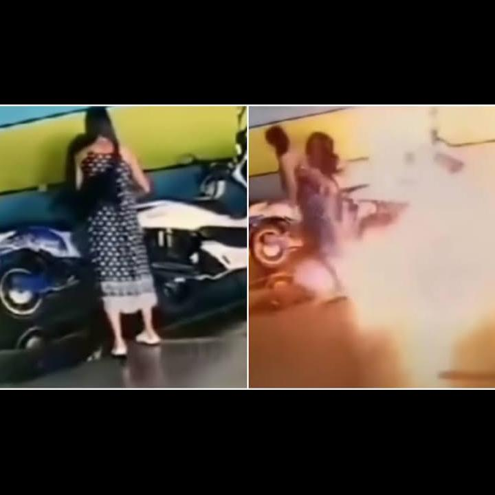 Tak Terima 'DITOLAK' Balikan, Cewek Thailand Ngamuk Bakar Motor Mantan !