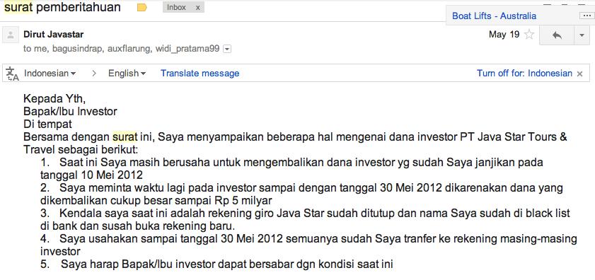 Penipuan Investasi dan Franchise PT. Java Star