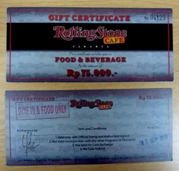 Voucher Makan Rolling Stone Ampera