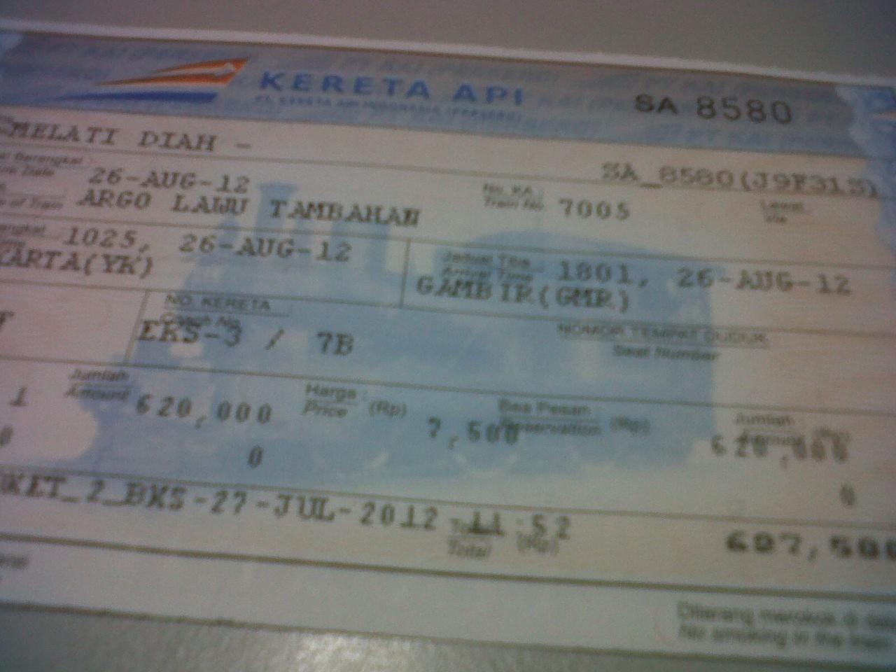Jual Cepat 1 Tiket Kereta Api Jogja Jakarta Eksekutif Argo Lawu