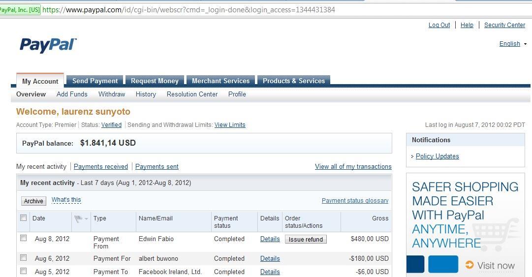 jual paypal $1800 halal rate 9600 klikbid.com pin bb 271058a3 sms 08179399777