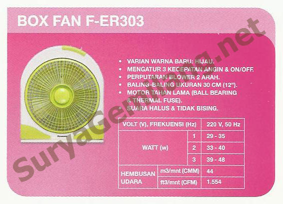 Box Fan Panasonic F-ER303
