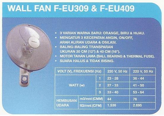 Wall Fan Panasonic F-EU309 dan F-EU409 Asli dan Baru