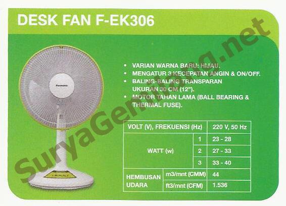 "Desk Fan Panasonic 12"" F-EK306 Baru, Asli, Garansi Resmi"