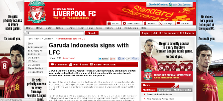 GARUDA INDONESIA jadi sponsor Liverpool FC
