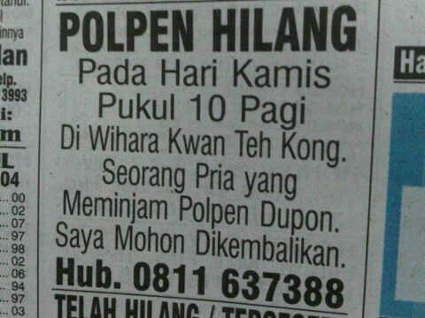 [NGAKAK INSIDE] Pencarian orang hilang di koran udah biasa gan, kalau ini?
