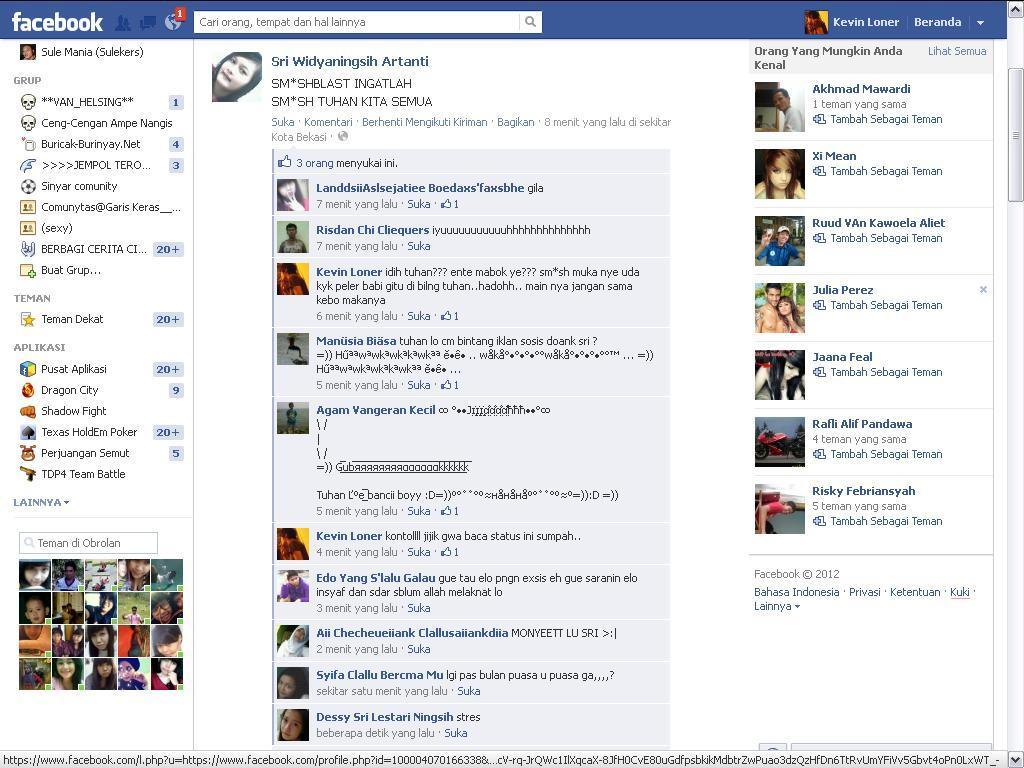 status FB cewek tergila,yg ane baca sepanjang ane maen FB!!!
