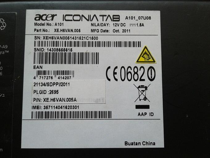 ACER ICONIA TAB A101 Lengkap Garansi Resmi ACER Indonesia Januari 2013 Mulus