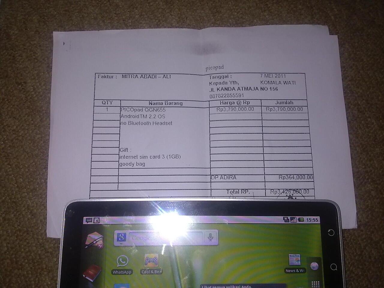 """tablet axioo picopad 7"""" 3g+wifi telp sms malang surabaya"""