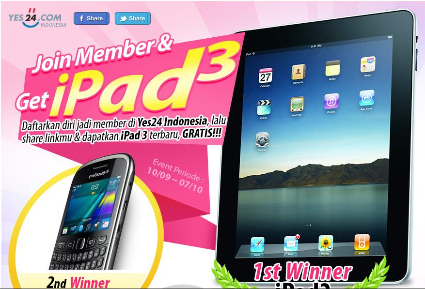 ada kuis baru berhadiah ipad3, Blackberry, notebook dan kamera polaroid. yuk masuk !!