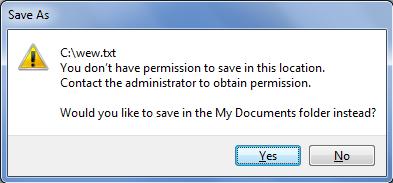 (ASK) Ga bisa nyimpen file di localdisk C ?????