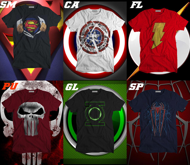 SUPERHERO Tees! SPiDERMAN, FLASH, SUPERMAN, CaPT AMERICa, PuNiSHERS & GREEN LANTERN!