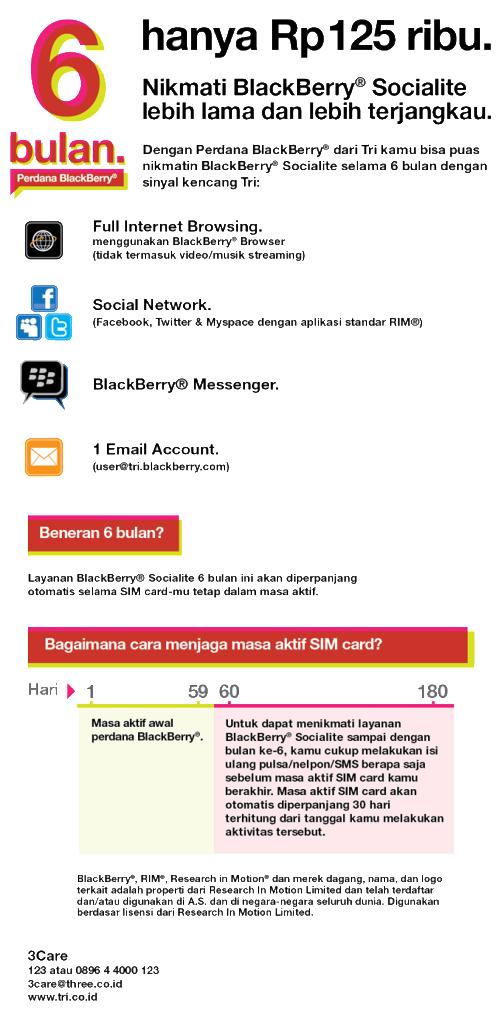 perdana paket BlackBerry SOCIALITE three (3) 6 Bln kota malang