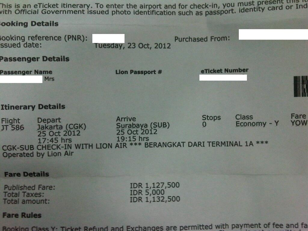 Terjual Wts Tiket Pesawat Jakarta Jkt Surabaya Sby 25 Oktober 2012
