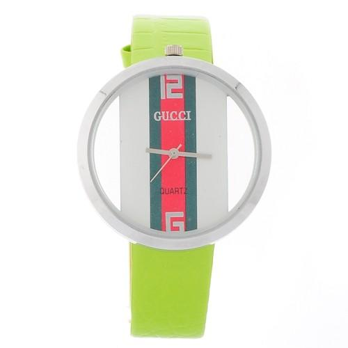 Jam Gucci Leather Light Green Plat White
