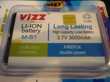 Jual Battery Batere Baterai BB Bold / Onyx, merk Vizz, double power 3000mAh