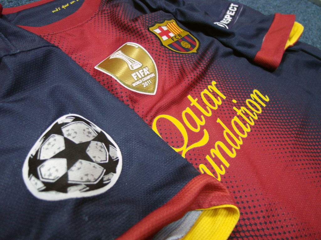 JERSEY BARCELONA PLAYER ISSUE PATCH CHAMPION
