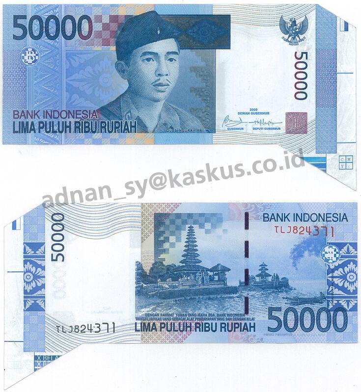 Uang Kertas Indonesia Misscut/Missprint