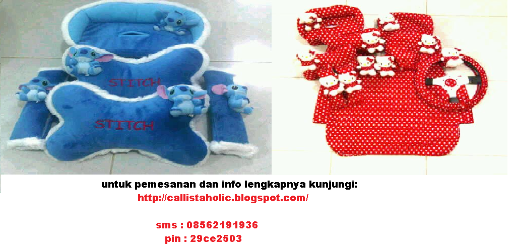 AKSESORIS BANTAL MOBIL STITCH, POOH, ELMO, HEADREST HELLO KITTY, KARPET