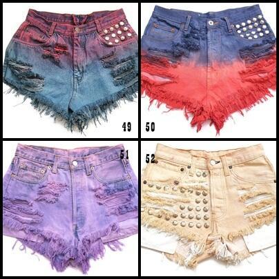 Studded short jeans, ombre short jeans, produsen langsung(HARGA BISA DI BANTING)