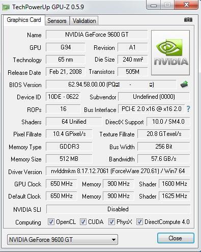 vga card pixelview ,nvidia geforce 9600gt 512mb 256bit ddr3