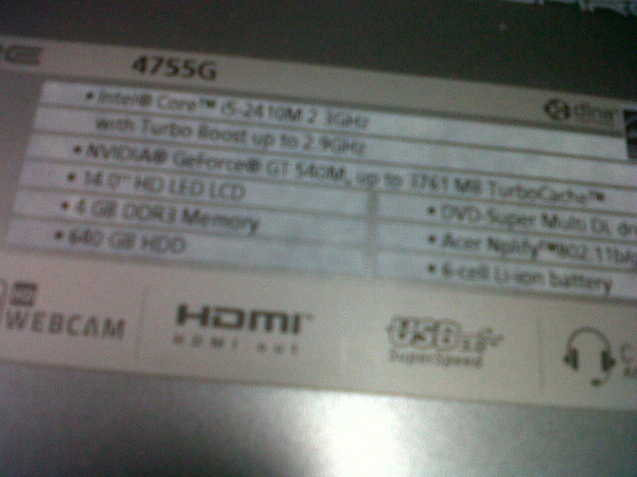 ACER 4755G GAMING COREI5