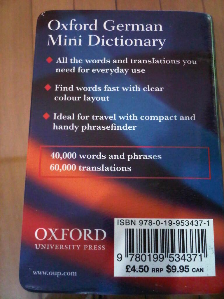 [ORI] OXFORD Mini Dictionary (French, German) & Collins Mini Dictionary (Spanish)