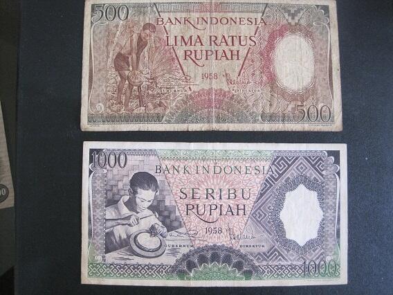 JUAL UANG KUNO RI Rp.500 & Rp.1000 SERI PEKERJA TANGAN THN 1958