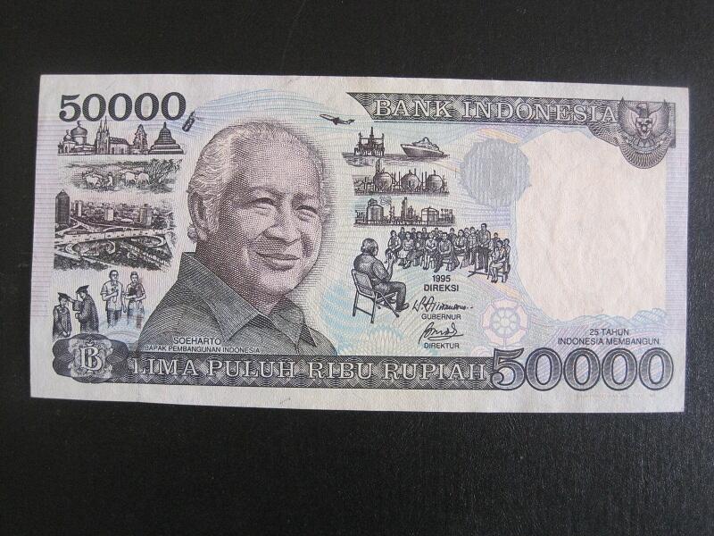 JUAL UANG SERI SOEHARTO Rp. 50.000,- THN 1995 UNC