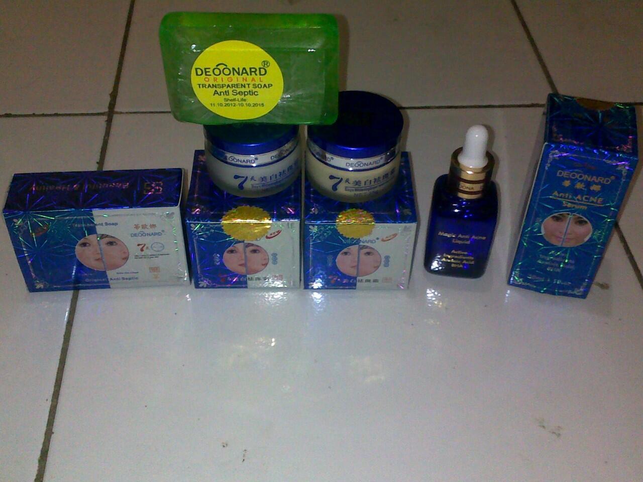 Paket Perawatan Jerawat Deoonard Blue Cream Siang Malam + Sabun + Serum Anti Acne