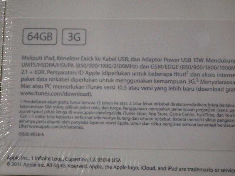 Ipad 2 64 GB 3G + wifi hitam BNIB ori segel garansi apple nego mumer ( doorprize )